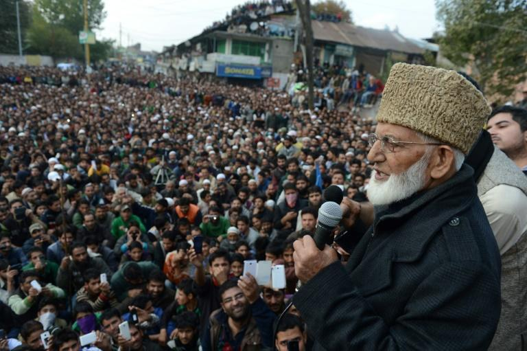 Kashmiri separatist leader Syed Ali Shah Geelani, seen here at a rally in Kashmir in 2013, was an uncompromising campaigner against Indian rule in the disputed Muslim-majority Himalayan region (AFP/STR)