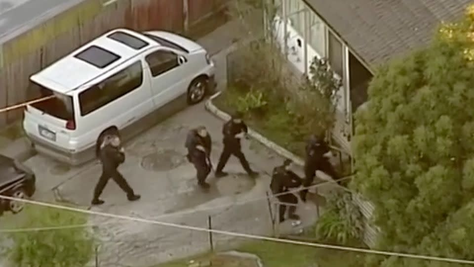 Police stormed the Doveton property bringing the rampage to an end. Source: 7 News