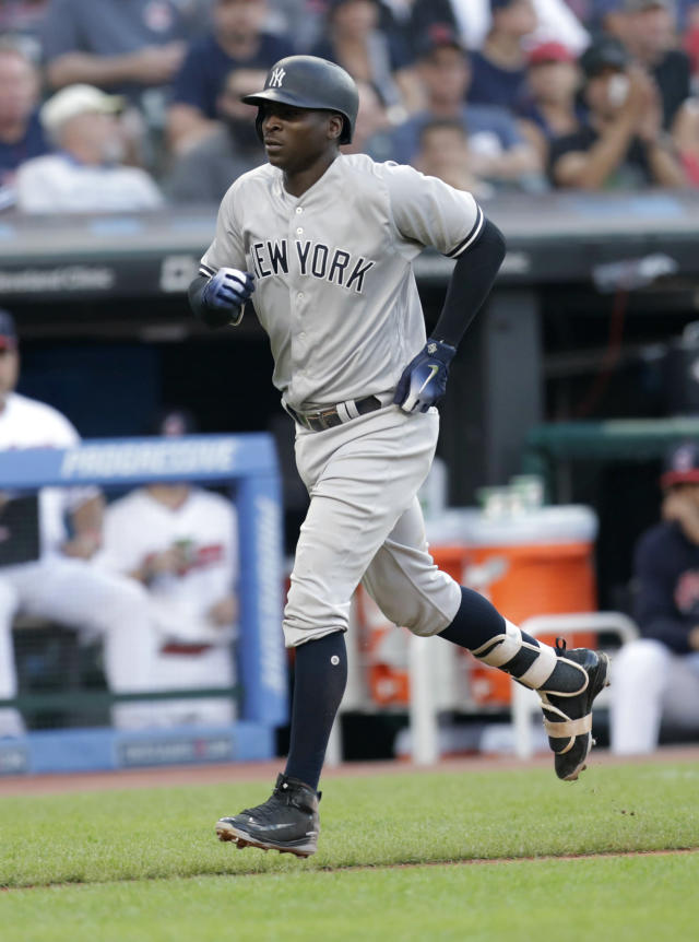 New York Yankees' Didi Gregorius runs the bases after hitting a solo home run off Cleveland Indians starting pitcher Corey Kluber during the fourth inning of a baseball game, Thursday, July 12, 2018, in Cleveland. (AP Photo/Tony Dejak)