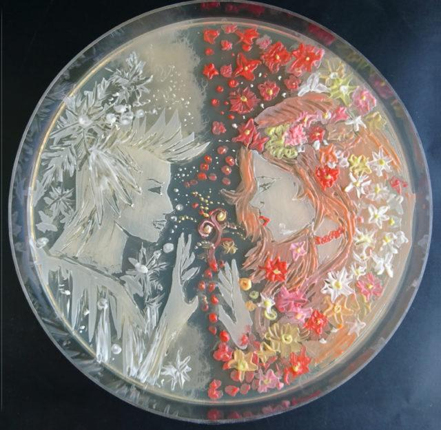 The battle of two microbes.