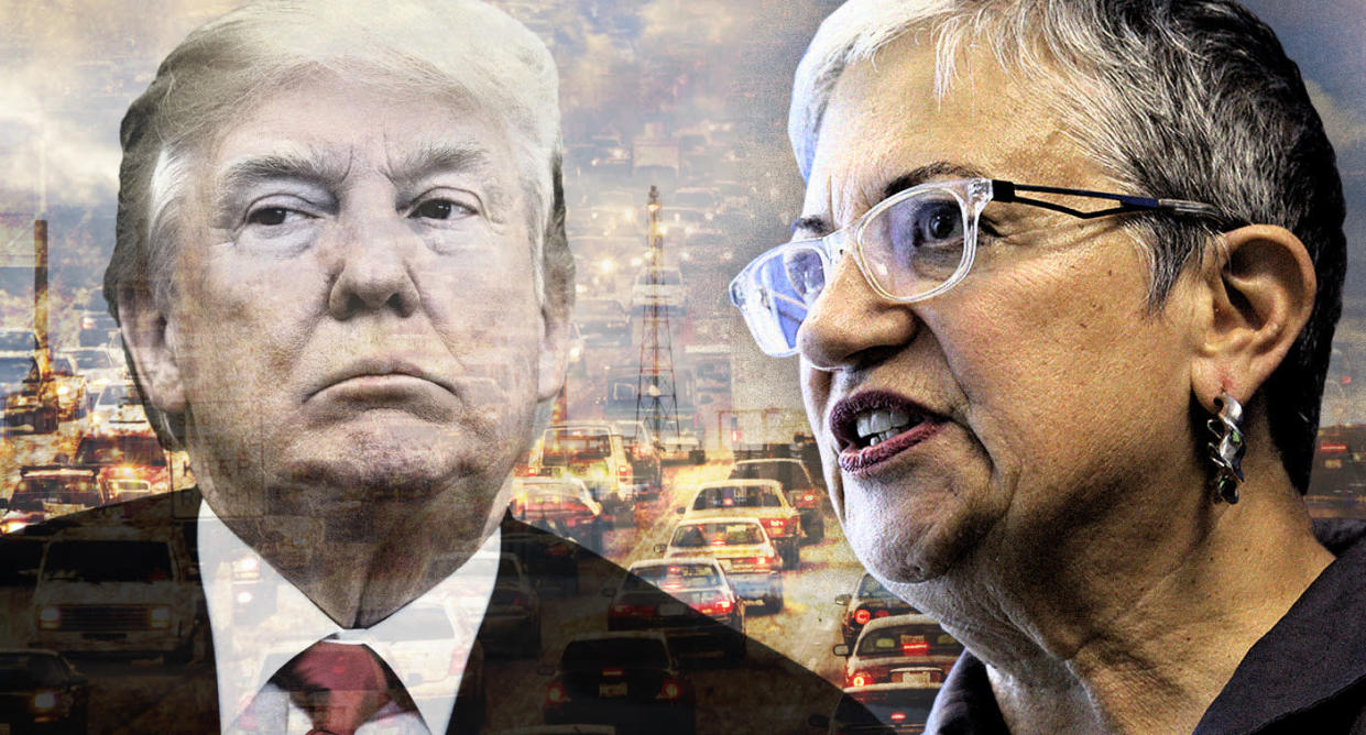 Donald Trump and Mary Nichols, Chair of the California Air Resources Board. (Photo illustration: Yahoo News; photos: AP, Eric Risberg/AP, Getty Images)