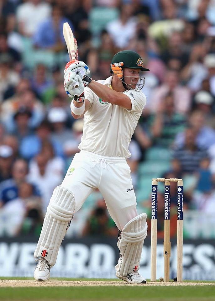 LONDON, ENGLAND - AUGUST 25:  David Warner of Australia bats during day five of the 5th Investec Ashes Test match between England and Australia at the Kia Oval on August 25, 2013 in London, England.  (Photo by Ryan Pierse/Getty Images)