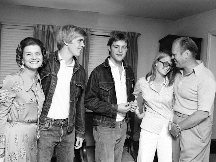 Gerald Ford with his wife, Betty, and three of their four children, Steven, John, and Susan in 1974.