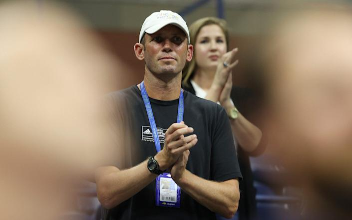 Andrew Richardson, coach of Emma Raducanu of Great Britain, cheers after Raducanu defeated Maria Sakkari of Greece during their Women's Singles semifinals match on Day Eleven of the 2021 US Open at the USTA Billie Jean King National Tennis Center on September 09, 2021 - GETTY IMAGES