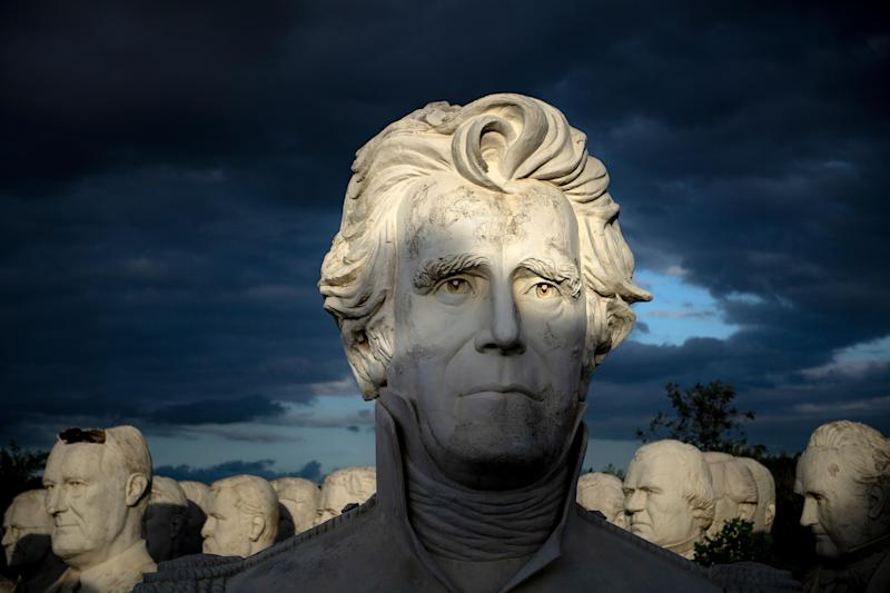 Former US President Andrew Jackson can be seen with other salvaged busts of former US Presidents at a mulching business where they now reside August 25, 2019, in Williamsburg, Virginia. (Photo: Brendan Smialowski/AFP/Getty Images)