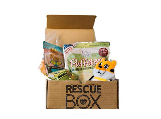 """<h2>54. Rescue Box</h2> <p><strong>Cost:</strong> $23/month</p> <p><strong>What you get: </strong>A selection of toys, treats and accessories</p> <p><strong>Why we love it: </strong>Treat your cat or dog to monthly goodies with a conscience: proceeds of the box go to supplying food and vaccines to shelter animals.</p> <p><a class=""""link rapid-noclick-resp"""" href=""""https://fave.co/2IH7jYw"""" rel=""""nofollow noopener"""" target=""""_blank"""" data-ylk=""""slk:Sign Up for Rescue Box"""">Sign Up for <em>Rescue Bo</em><em>x</em></a></p>"""