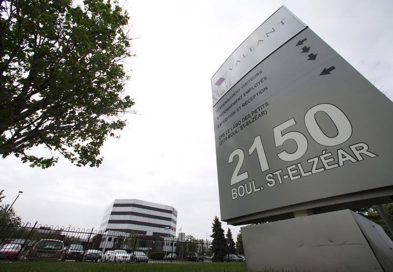 Sign of Valeant Pharmaceuticals International Inc is seen at its headquarters in Laval