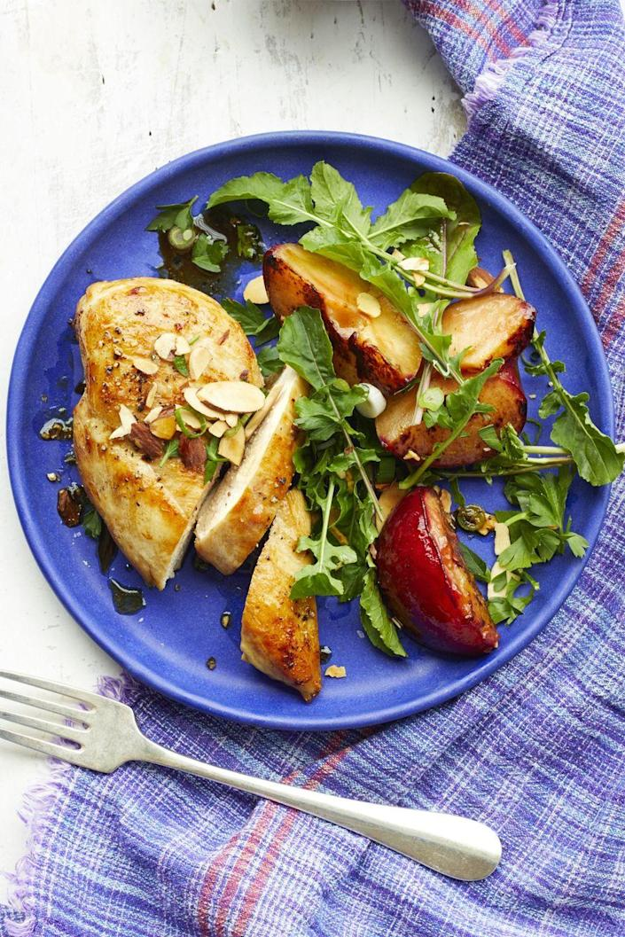 """<p>Plums might not be the first thing you think of when you go to make dinner, but after trying this dish, they will be. Plus, this meal only takes 15 minutes to make.</p><p><em><a href=""""https://www.womansday.com/food-recipes/food-drinks/recipes/a59415/chicken-roasted-plums-almond-gremolata-recipe/"""" rel=""""nofollow noopener"""" target=""""_blank"""" data-ylk=""""slk:Get the Chicken with Roasted Plums and Almond Gremolata recipe."""" class=""""link rapid-noclick-resp"""">Get the Chicken with Roasted Plums and Almond Gremolata recipe.</a></em></p>"""