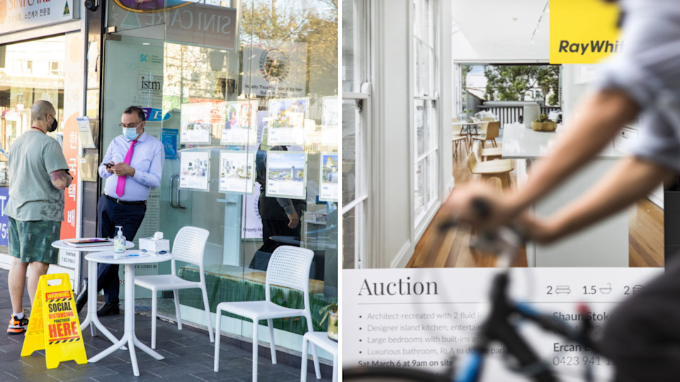 Image of man standing outside real estate agency; image of auction sign
