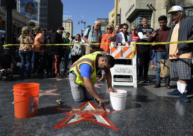 Donald Trump's star on the Hollywood Walk of Fame is repaired after it was vandalized in October 2016. (Photo: Kevork Djansezian/Getty Images)