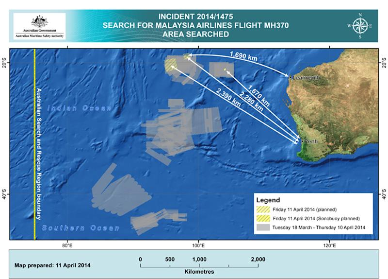 In this map provided on Friday, April 11, 2014, by the Joint Agency Coordination Centre, details are presented on the search for the Malaysia Airlines Flight 370 in the southern Indian Ocean off the Australian west coast. Australia's prime minister said on Friday authorities are confident that a series of underwater signals detected in a remote patch of the Indian Ocean are coming from the missing Malaysia Airlines plane. (AP Photo/Joint Agency Coordination Centre) EDITORIAL USE ONLY