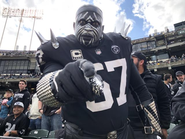 "Longtime Oakland Raiders fan Wayne ""The Violator"" Mabry says he's ""priced out"" of the Las Vegas stadium. (Torrey Hart/Yahoo Sports)"