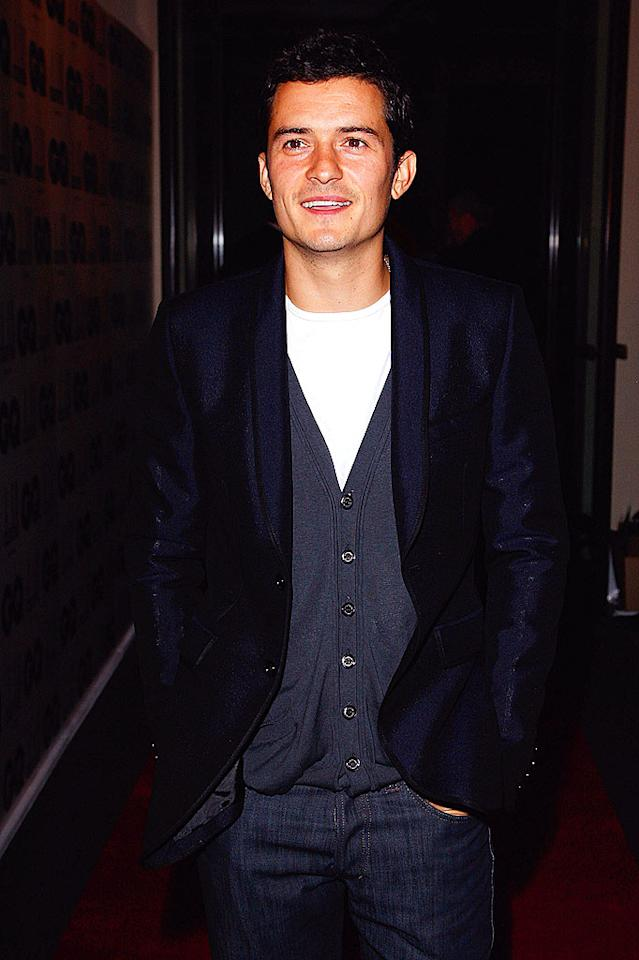 """Orlando Bloom arrives at the the GQ Men of the Year Awards in London. The British hottie kept things casual in dark denim and a navy blazer. Jon Furniss/<a href=""""http://www.wireimage.com"""" target=""""new"""">WireImage.com</a> - September 2, 2008"""