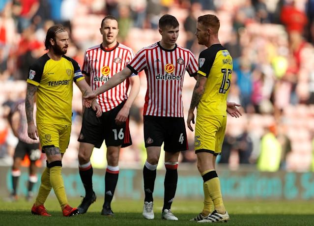 "Soccer Football - Championship - Sunderland v Burton Albion - Stadium of Light, Sunderland, Britain - April 21, 2018 Sunderland's Paddy McNair reacts after his goal is disallowed Action Images/Lee Smith EDITORIAL USE ONLY. No use with unauthorized audio, video, data, fixture lists, club/league logos or ""live"" services. Online in-match use limited to 75 images, no video emulation. No use in betting, games or single club/league/player publications. Please contact your account representative for further details."