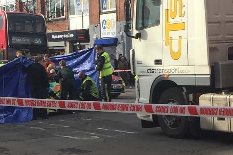 Horror crash: The man after after he was hit by a lorry in Leyton Road: Hassan Kasim