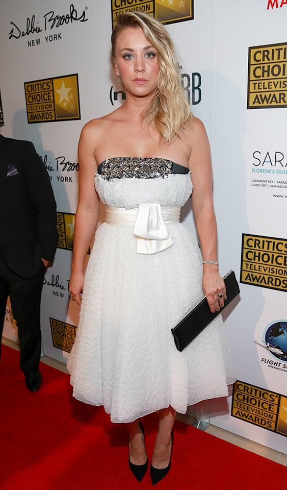 BEVERLY HILLS, CA - JUNE 10:  Actress Kaley Cuoco attends the Critics' Choice Television Awards at The Beverly Hilton Hotel on June 10, 2013 in Beverly Hills, California.  (Photo by Imeh Akpanudosen/WireImage)