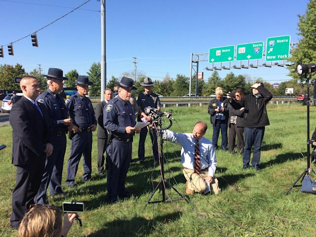 <p>The Harford County sheriff gives a press conference after a shooting at a business park in the Edgewood area of Harford County Wednesday, Oct. 18, 2017. (Photo: Kenneth K. Lam/Baltimore Sun/TNS via Getty Images) </p>