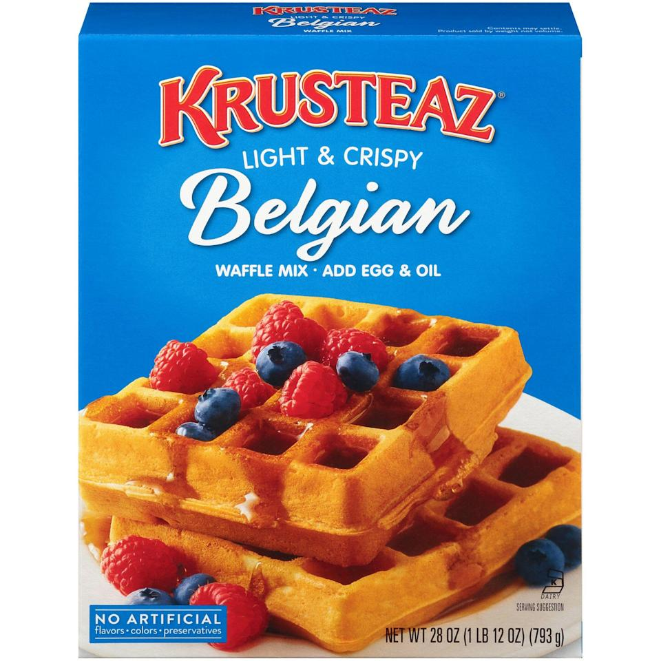 """<p><strong>Krusteaz</strong></p><p>walmart.com</p><p><strong>$1.97</strong></p><p><a href=""""https://go.redirectingat.com?id=74968X1596630&url=https%3A%2F%2Fwww.walmart.com%2Fip%2F10307484&sref=https%3A%2F%2Fwww.thepioneerwoman.com%2Ffood-cooking%2Fg36547983%2Fbest-waffle-mix%2F"""" rel=""""nofollow noopener"""" target=""""_blank"""" data-ylk=""""slk:Shop Now"""" class=""""link rapid-noclick-resp"""">Shop Now</a></p><p>Use this classic grocery store mix to whip up waffles that are crispy on the outside and fluffy on the inside. Just add water, eggs, and milk.</p>"""