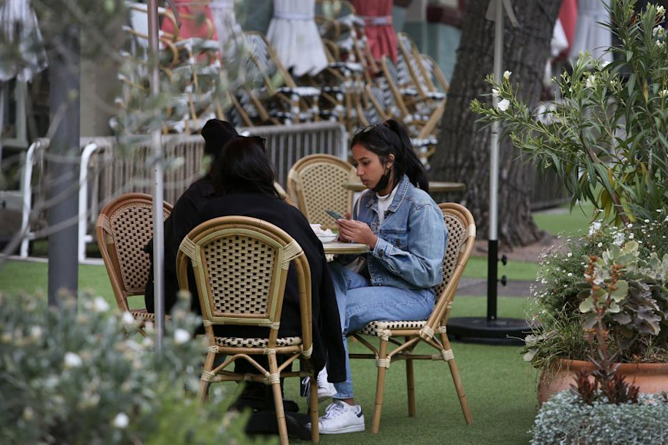 Patrons are seen dining in The Rocks in Sydney, Australia.