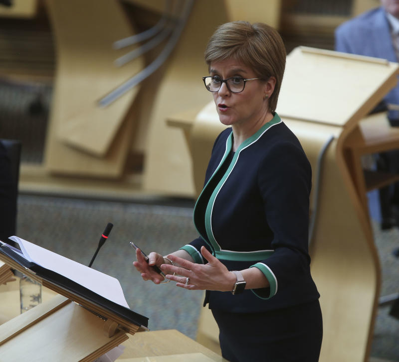 Nicola Sturgeon during a special coronavirus Covid-19 social distancing First Ministers Questions at the Scottish Parliament, Edinburgh.