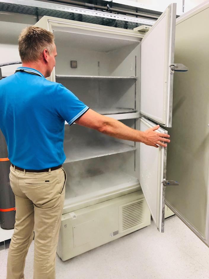An ultra-cold freezer that can store items at as low as -80° Celsius/-112° Fahrenheit, at UPS' cold storage facility in Venlo, The Netherlands.