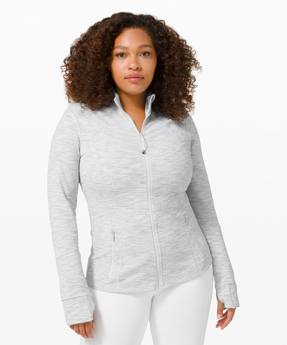 """<h3>Define Jacket</h3><br>Lululemon's fan-favorite Define Jacket is the perfect <a href=""""https://www.refinery29.com/en-us/womens-fall-jackets"""" rel=""""nofollow noopener"""" target=""""_blank"""" data-ylk=""""slk:lightweight, techy layer"""" class=""""link rapid-noclick-resp"""">lightweight, techy layer</a> that is sweat-wicking and breezy without adding any bulk.<br><br><strong>What They're Saying:</strong> """"Absolutely love the Define Jacket! I've been wearing them for many years and love how Lululemon has increased the color palette. If you don't own one yet, go treat yourself! You will love it.""""<br><br><strong>lululemon</strong> Define Jacket, $, available at <a href=""""https://go.skimresources.com/?id=30283X879131&url=https%3A%2F%2Fshop.lululemon.com%2Fp%2Fjackets-and-hoodies-jackets%2FDefine-Jacket%2F_%2Fprod5020054"""" rel=""""nofollow noopener"""" target=""""_blank"""" data-ylk=""""slk:lululemon"""" class=""""link rapid-noclick-resp"""">lululemon</a>"""