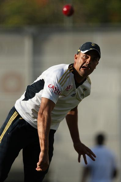 BRISBANE, AUSTRALIA - NOVEMBER 07:  Jacques Rudolph bowls during a South African nets session at The Gabba on November 7, 2012 in Brisbane, Australia.  (Photo by Chris Hyde/Getty Images)