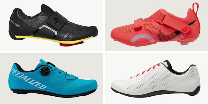 """<p class=""""body-dropcap"""">Spin shoes come in a lot of different styles, with different features suitable for different riders. With the uptick of <a href=""""https://www.bicycling.com/bikes-gear/a23795768/stationary-bikes/"""" rel=""""nofollow noopener"""" target=""""_blank"""" data-ylk=""""slk:at-home riding"""" class=""""link rapid-noclick-resp"""">at-home riding</a> (Peloton's paid user base has <a href=""""https://www.ft.com/content/9490083d-87e8-4e76-8027-9adc763698e2"""" rel=""""nofollow noopener"""" target=""""_blank"""" data-ylk=""""slk:more than doubled"""" class=""""link rapid-noclick-resp"""">more than doubled</a> over the last year), more and more of us are hunting for the best picks to suit our <a href=""""https://www.bicycling.com/training/a23459941/benefits-of-spinning/"""" rel=""""nofollow noopener"""" target=""""_blank"""" data-ylk=""""slk:indoor cycling"""" class=""""link rapid-noclick-resp"""">indoor cycling</a> needs. Here's the thing, though: While indoor cycling isn't a category you'll likely see on a shoe website, there are plenty of factors that go into making specific styles more suitable for indoor riding versus outdoor wear. Here, we've included ten of our top picks for men and women, as well as what you should take into consideration when purchasing your next pair. </p><h4 class=""""body-h4""""><strong>What to Look for in a Spin Shoe</strong></h4><p>First things first: Think about what you want in a Spin shoe. Since you're riding indoors, you'll likely be hotter and sweatier than if you were spinning in the open air with a natural breeze to cool you down. Even a strategically-positioned floor fan doesn't help all that much. While speed-centric outdoor cyclists are typically after lighter, aerodynamic options in an effort to ride as fast as possible, you don't need to worry about that as much since you're technically sitting still. </p><p>Instead, you may want to look for an ultra-breathable shoe with a stiff sole because the stiffer the shoe, the more power you'll transfer to the pedals to crank up your on-the-bike intensity. For some"""