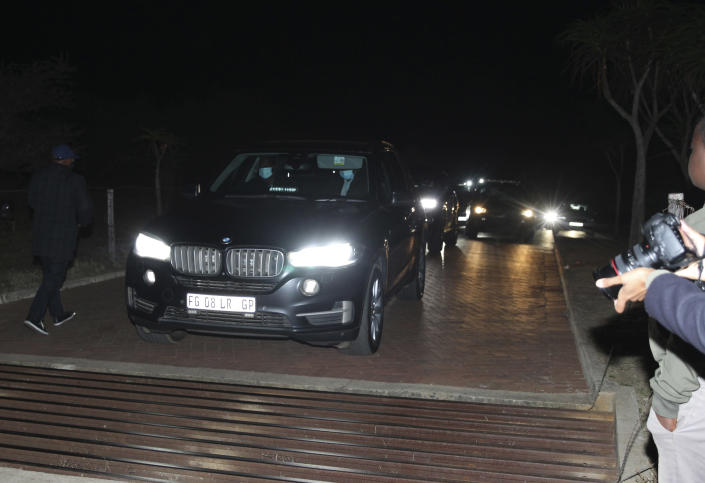 A convoy of vehicles transporting former South African President Jacob Zuma leaves his home in Nkandla, KwaZulu-Natal Province Wednesday July 7 2021. Zuma turned himself over to police early Thursday to begin serving a 15-month prison term just minutes before the midnight deadline for police to arrest him, (AP Photo)
