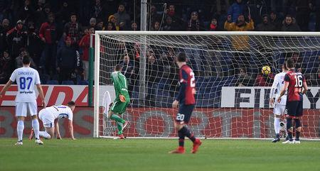 Soccer Football - Serie A - Genoa vs Inter Milan - Stadio Comunale Luigi Ferraris, Genoa, Italy - February 17, 2018 Inter Milan's Andrea Ranocchia (not pictured) scores an own goal and the first goal for Genoa REUTERS/Alberto Lingria