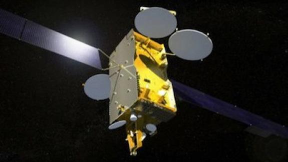 Artist's concept of the Express AM4R satellite.