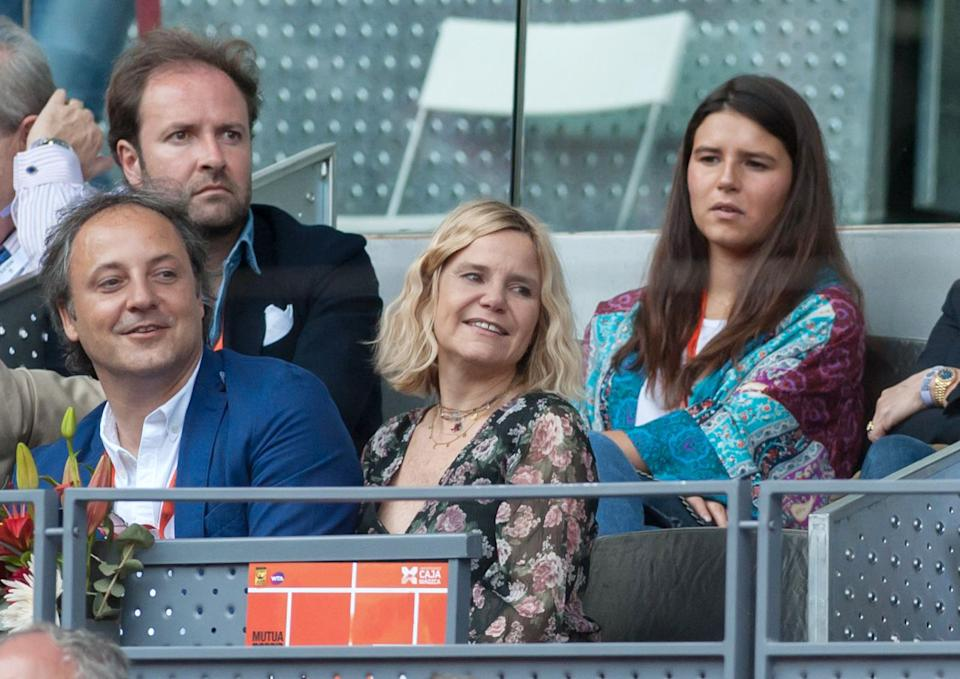 MADRID, SPAIN - MAY 10: Narcis Rebollo (L), Eugenia Martinez de irujo and her daughter Cayetana Rivera are seen attending the Mutua Madrid Open tennis tournament at the Caja Magica on May 10, 2018 in Madrid, Spain.  (Photo by Europa Press/Europa Press via Getty Images)