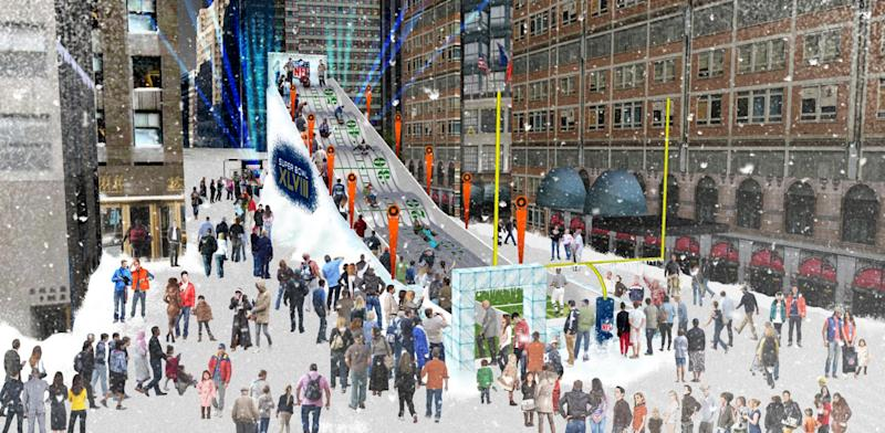 """FILE - In this undated artist's rendering provided by the National Football League, a proposed toboggan slide is set up in Times Square in New York. A stretch of Broadway from 34th Street to 48th will be closed to traffic, renamed """"Super Bowl Boulevard,"""" and converted into a rollicking theme park, merchandise shop and concert venue. (AP Photo/National Football League, File)"""