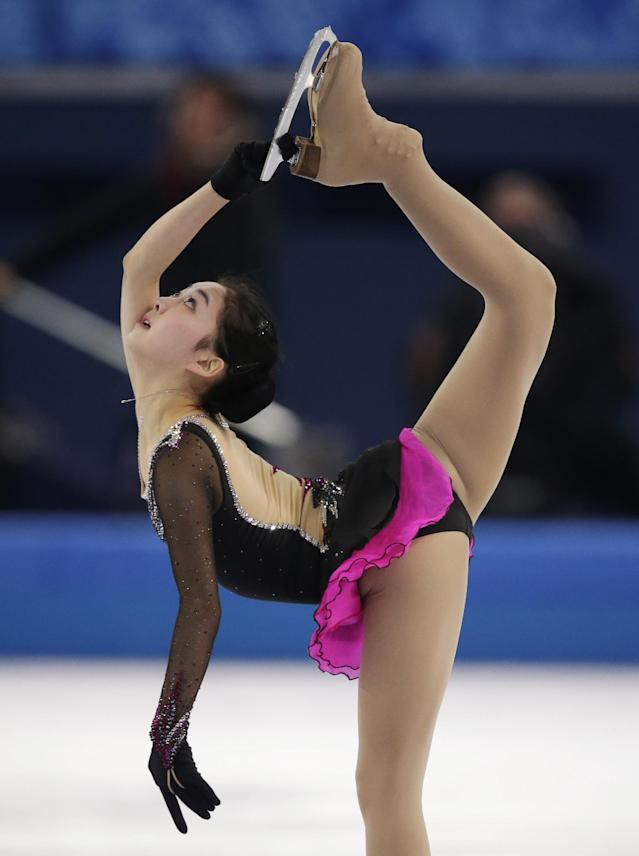 Li Zijun of China competes in the women's short program figure skating competition at the Iceberg Skating Palace during the 2014 Winter Olympics, Wednesday, Feb. 19, 2014, in Sochi, Russia. (AP Photo/Bernat Armangue)