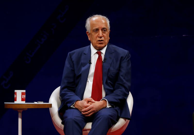 U.S. envoy for peace in Afghanistan Zalmay Khalilzad, speaks during a debate at Tolo TV channel in Kabul