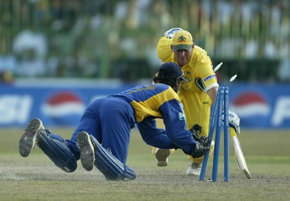 COLOMBO - SEPTEMBER 27:  Shane Warne of Australia is stumped by Kumar Sangakkara of Sri Lanka during the ICC Champions Trophy semi final match between Sri Lanka and Australia at the Premadasa Stadium in Colombo, Sri Lanka  on September 27, 2002. (Photo by Clive Mason/Getty Images.)