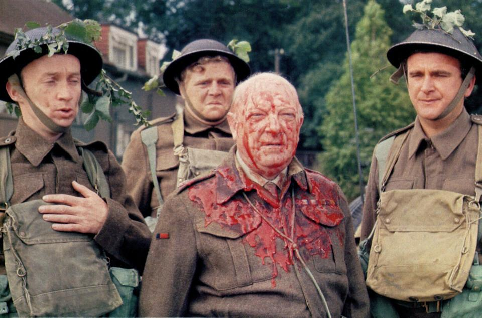 Selby, right, with Arthur Lowe, centre, in Adolf Hitler: My Part in His Downfall (1973)