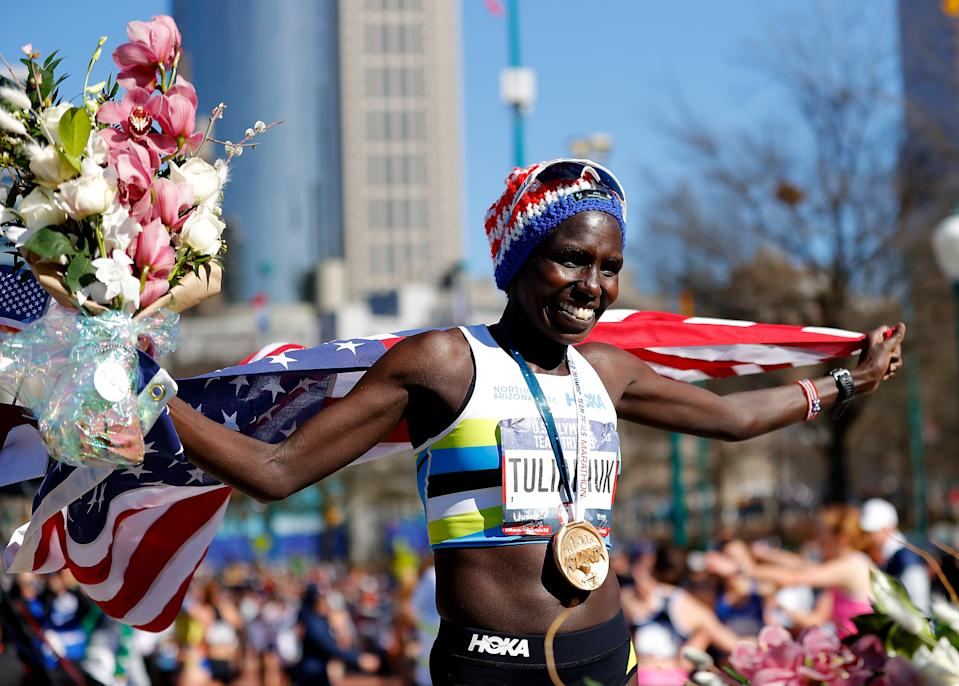 Aliphine Tuliamuk poses after winning the women's U.S. Olympic marathon trials last February. She has since given birth and wants to bring her daughter to the Tokyo Games. (Photo by Kevin C. Cox/Getty Images)