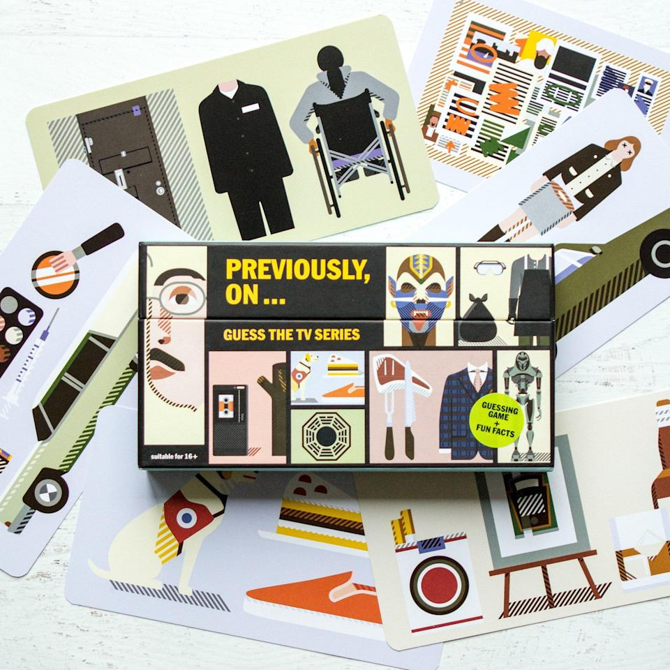 """<p>So graphically cool they're suitable for framing, each oversized index card in this game features three illustrations that challenge television fans to guess what show they're hinting at. Example: a yellow Lab + a piece of pie + an orange slip-on shoe = <i>Orange Is the New Black</i>. Another: a bingo game card + a beat-up car + a skateboard and helmet = <i>Better Call Saul</i>. One more: bling-y jewelry + a yacht + a football = <i>Ballers</i>. The flip side of each card features fun quotes and facts from each series, making the gorgeous box set a can't-miss gift for any TV devoted.<br><strong>Buy: <a href=""""https://www.amazon.com/gp/product/1780678428/ref=as_at/?imprToken=5YPl6JNQBPb9tc.COMOp0Q&slotNum=0&ie=UTF8&tag=entertain07-20&camp=1789&creative=9325&linkCode=w50&creativeASIN=1780678428&linkId=8eb9f2378429228ff8d919b868af2c79"""" rel=""""nofollow noopener"""" target=""""_blank"""" data-ylk=""""slk:Amazon"""" class=""""link rapid-noclick-resp"""">Amazon</a></strong> </p>"""