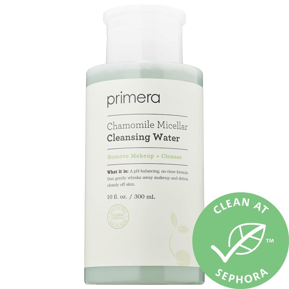 "<p>Calming chamomile treats skin gently as the oil-free <a href=""https://www.popsugar.com/buy/Primera-Chamomile-Micellar-Cleansing-Water-586892?p_name=Primera%20Chamomile%20Micellar%20Cleansing%20Water&retailer=sephora.com&pid=586892&price=32&evar1=bella%3Aus&evar9=47595992&evar98=https%3A%2F%2Fwww.popsugar.com%2Fphoto-gallery%2F47595992%2Fimage%2F47595993%2FPrimera-Chamomile-Micellar-Cleansing-Water&list1=sephora%2Ccleanser%2Cbeauty%20shopping%2Cskin%20care&prop13=api&pdata=1"" class=""link rapid-noclick-resp"" rel=""nofollow noopener"" target=""_blank"" data-ylk=""slk:Primera Chamomile Micellar Cleansing Water"">Primera Chamomile Micellar Cleansing Water</a> ($32) removes even waterproof makeup, with witch hazel as an added moisturizing, pH-balancing treat.</p>"