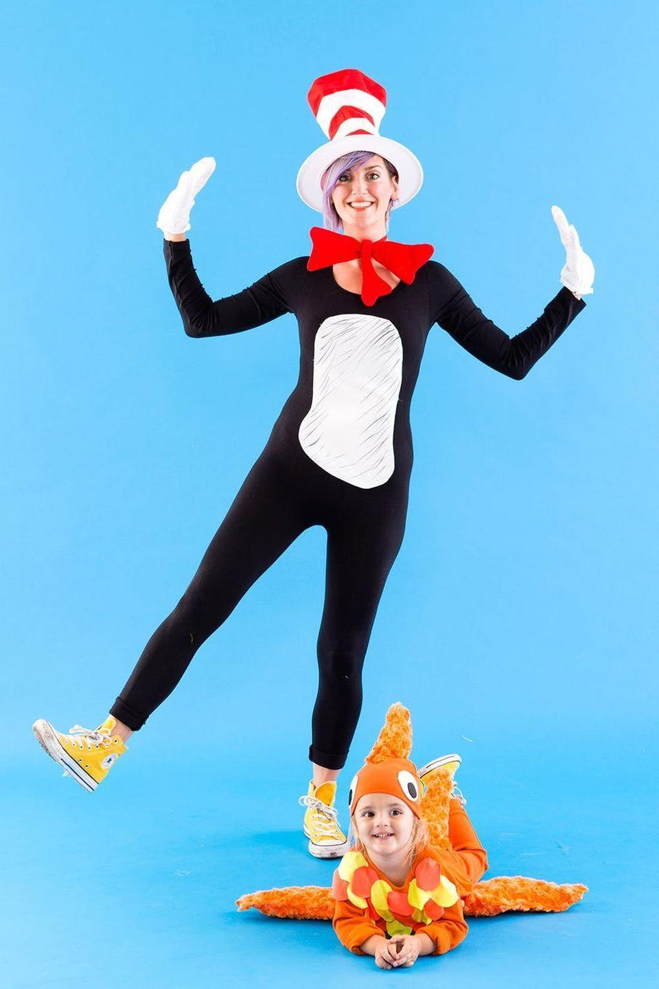 "<p>We're obsessed with this adorable DIY <em>The Cat in the Hat </em>costume — just look at that little goldfish!</p><p><a class=""link rapid-noclick-resp"" href=""https://www.amazon.com/gp/product/B004NIIKB6?tag=syn-yahoo-20&ascsubtag=%5Bartid%7C10055.g.22127013%5Bsrc%7Cyahoo-us"" rel=""nofollow noopener"" target=""_blank"" data-ylk=""slk:Shop 'Cat in the Hat' accessories"">Shop 'Cat in the Hat' accessories</a></p><p><em><a href=""https://www.brit.co/dr-seuss-cat-in-the-hat-goldfish-halloween-costumes/"" rel=""nofollow noopener"" target=""_blank"" data-ylk=""slk:Get the tutorial from Brit + Co. »"" class=""link rapid-noclick-resp"">Get the tutorial from Brit + Co. »</a></em></p>"