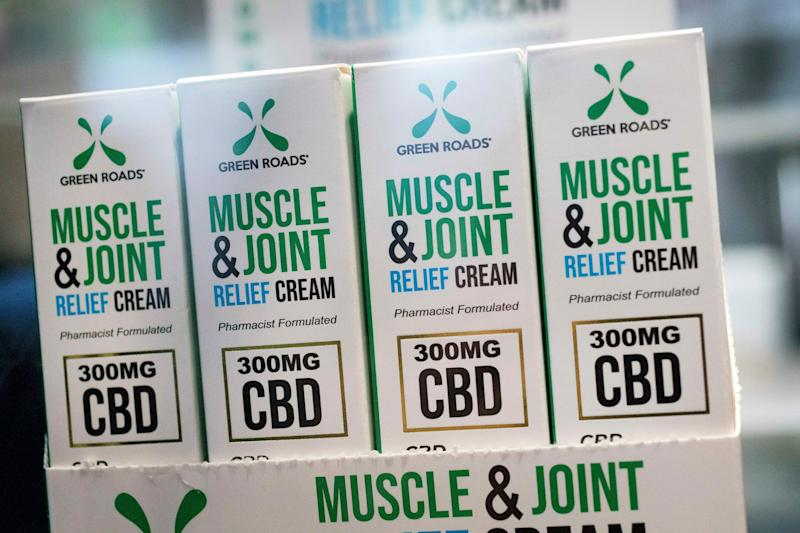 Muscle Joint & Relief Cream is displayed at the Cannabis World Congress & Business Exposition trade show, Thursday, May 30, 2019 in New York. The non-prescription cream is marketed by Green Roads of Deerfield Beach, Flor. (AP Photo/Mark Lennihan)