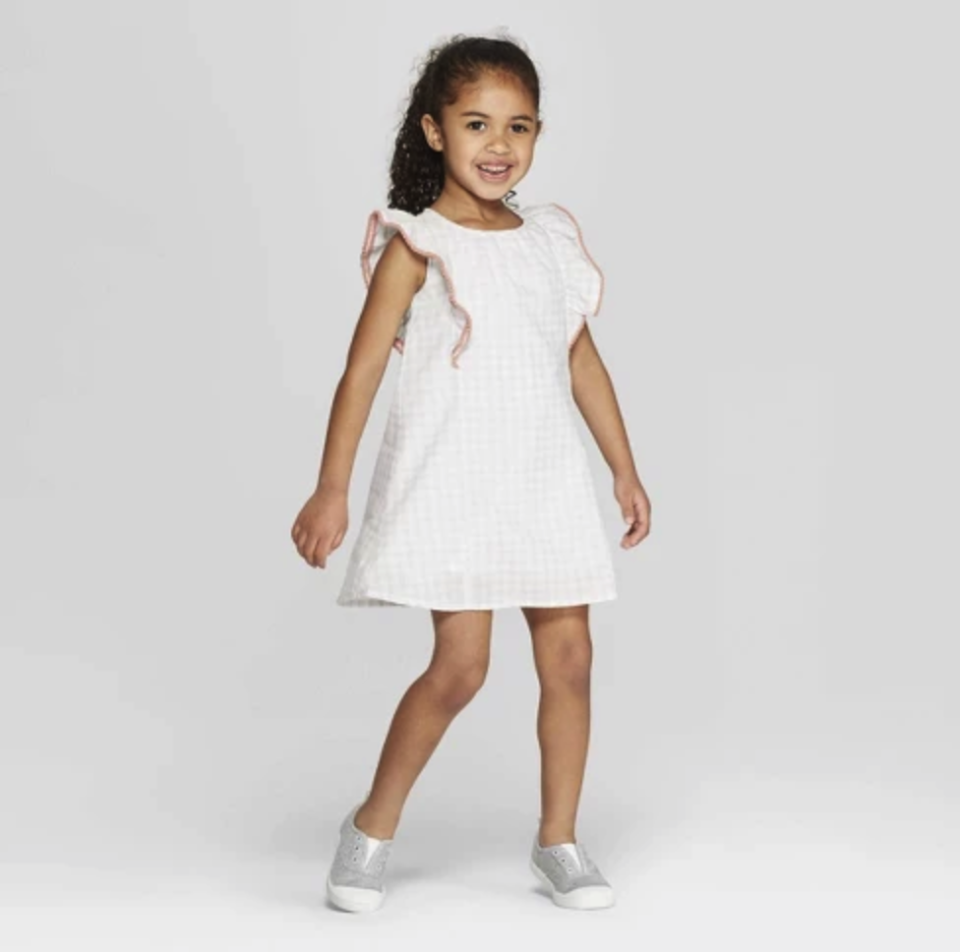 Mila & Emma Toddler Girls' Gingham Ruffle Shift Dress. (Photo: Target)