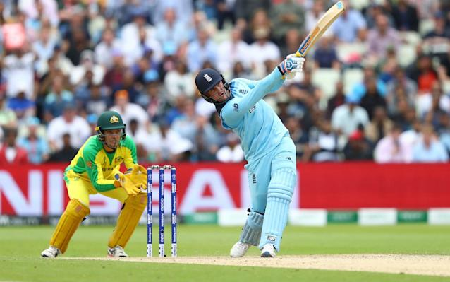 Jason Roy of England hits a six off the bowling of Steve Smith of Australia - GETTY IMAGES