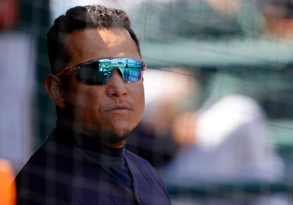 Detroit Tigers' Miguel Cabrera looks on against the New York Yankees at Joker Marchant Stadium, March 23, 2021 in Lakeland, Fla.