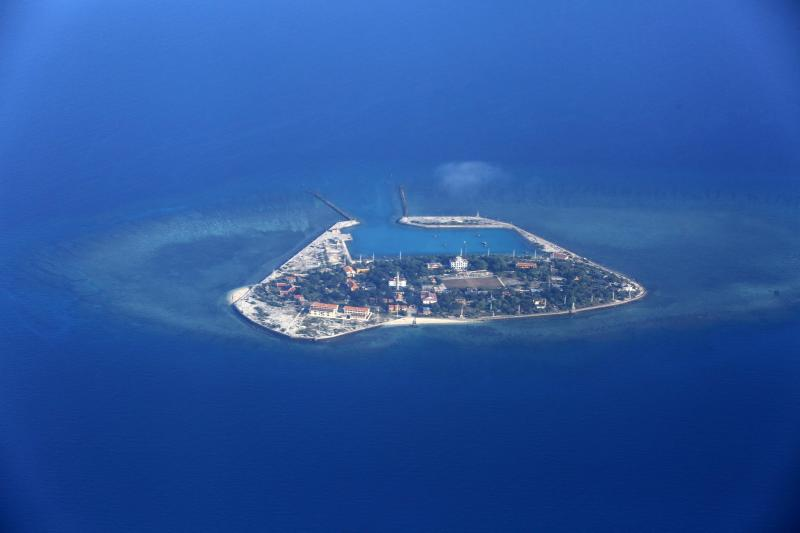An aerial view of Southwest Cay islet, part of the Spratly islands, being claimed by Vietnam in the disputed South China Sea. Source: AAP