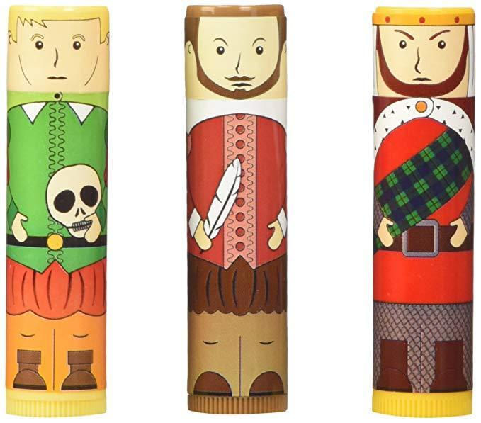 """Will these Shakespeare-likeness lip balm tubes resonate with everyone at the gift swap? Not necessarily — but will they resonate very strongly with a small handful of extreme nerds? <em>Definitely.</em><br><br><strong>Accoutrements</strong> Shakespearean Lip Balm Set, $, available at <a href=""""https://www.amazon.com/dp/B00OBUY0II/ref=cm_gf_aWE_i01_d_p0_c0_qd8___________________WDPjMe0GKukEIaGKxV0z"""" rel=""""nofollow noopener"""" target=""""_blank"""" data-ylk=""""slk:Amazon"""" class=""""link rapid-noclick-resp"""">Amazon</a>"""