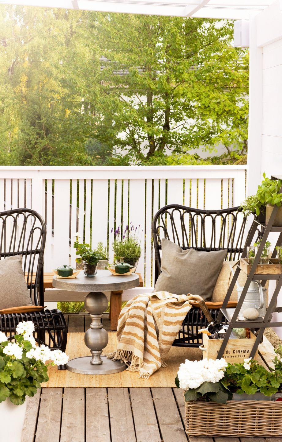 <p>Styling is key to any design scheme, especially a cozy balcony. Add visual interest to your area with a pair of striking chairs and a well-curated collection of plants and floral arrangements. </p>