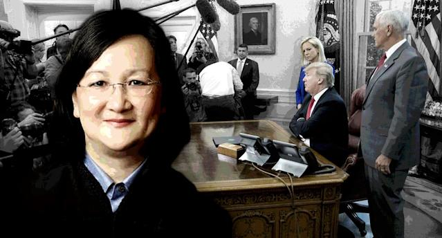 Judge Dolly M. Gee; Donald Trump (Photo illustration: Yahoo News; photos: Handout via Openjurist.org, Pablo Martinez Monsivais/AP)