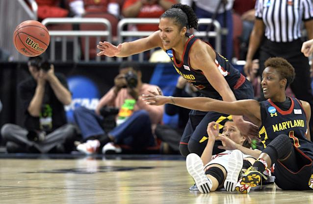 Maryland's Alyssa Thomas, top, and Laurin Mincy, right, go for a loose ball during the second half against Louisville during a regional final of the NCAA women's college basketball tournament Tuesday, April 1, 2014, in Louisville, Ky. Maryland defeated Louisville 76-73. (AP Photo/Timothy D. Easley)